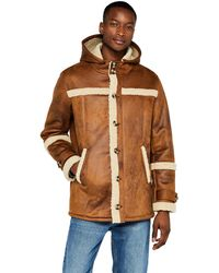 FIND Leather Look Hooded Shearling - Multicolour