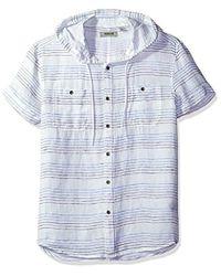 Kenneth Cole Reaction - Short Sleeve Hood Horizontal Stripe Woven Shirt - Lyst