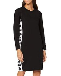 Love Moschino Long Sleeve Fleece Dress Logo B-Sides Tape Print Vestito Donna - Nero
