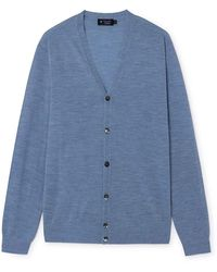 Hackett Fn GG Merino Wool Cardigan In Light Denim Blue