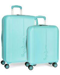 Pepe Jeans Glasgow Rigid Light Blue Suitcase Set 55-70 Cm