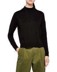 Meraki Boxy Fit High-neck Cotton-blend - Black