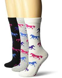 c2e81ada51388 Ladies Horse Crew Socks 3 Pair Pack, White/black/grey, Medium - Gray