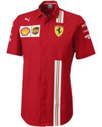 PUMA Chemise à che Courte Ferrari Team pour Rosso Corsa XS - Rouge