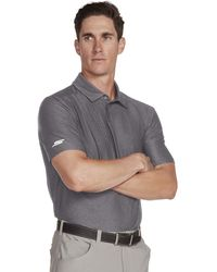 Skechers Golf Pitch Shot Short Sleeve Solid Golf Polo - Gray