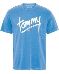 Tommy Hilfiger - Tommy Jeans TJM Handwriting Tee Chemise Casual - Bleu (Federal Blue 432) - X-Large (Taille fabricant: W28/L34) - Lyst