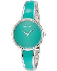 Calvin Klein Seduce Stainless Steel & Green Resin Bangle Bracelet Watch 30mm