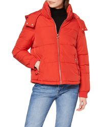 Miss Selfridge Sporty Puffer Red Quilted Jacket