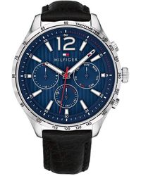 Tommy Hilfiger Stainless Steel Quartz Watch With Leather Calfskin Strap, Black, 20 (model: 1791468)