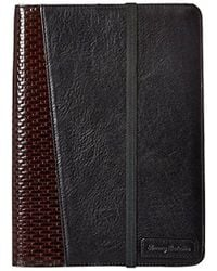 Tommy Bahama Milled Leather And Basketweave Ipad Case - Black