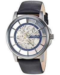 Kenneth Cole - Automatic Stainless Steel And Leather Casual Watch, Color Black (model: Kc50227002) - Lyst