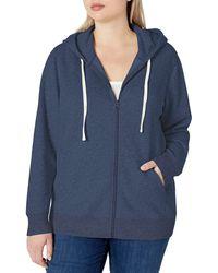 Amazon Essentials Plus Size French Terry Fleece Full-Zip Hoodie Fashion-Hoodies - Blu