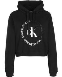 Calvin Klein - Jeans J20J213470 Blocked Hood Felpa Donna Black S - Lyst