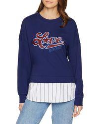 Love Moschino Sweatshirt Star Logo_Long Sleeve Fleece Bottom Striped - Blau