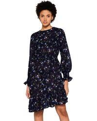 FIND Vestido Asimétrico de Flores - Azul