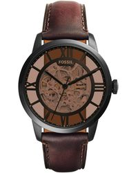 Fossil Analog Automatik Uhr mit Leder Armband ME3098 - Schwarz