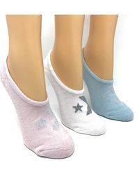 Converse S No Show Socks 3 Pack Half Cushion Ultra Low Made For Chucks Shoe Size 6-10 (white/blue/pink Glitter)