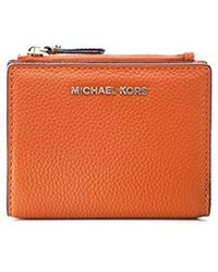 Michael Kors - Michael Leather Jet Set Snap Billfold Wallet Orange - Lyst