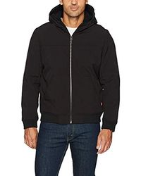 Levi's - Soft Shell Sherpa Lined Hooded Bomber Jacket, Black, Large - Lyst