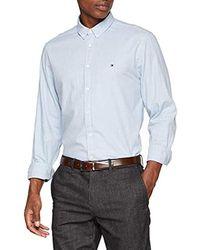 Tommy Hilfiger Heather Herringbone Shirt Chemise Casual - Bleu
