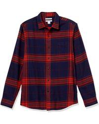 Amazon Essentials Camicia Slim Fit a iche Lunghe in Flanella - Multicolore