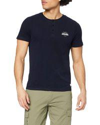 HIKARO Camiseta con Botones Hombre - Azul