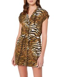 Dorothy Perkins Tiger Channel Waist Relaxed Playsuit - Brown