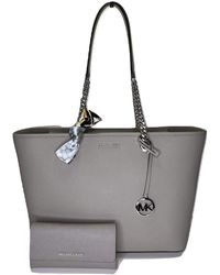 Michael Kors MICHAEL Shania Large EW Chain Tote bundled with matching Trifold Wallet and Skinny Scarf - Grigio