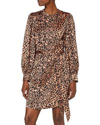 Scotch & Soda - Maison Printed Dress with Waist Tie And Voluminous Sleeve Vestito Casual - Lyst