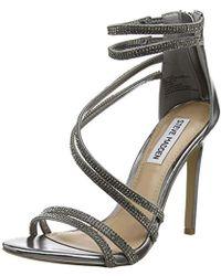 048bd10860af Steve Madden Silver Leather  sweetest  High Heel Ankle Strap Sandals ...