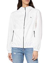 Calvin Klein Large CK Logo Hooded Zip Through Giacca Donna - Bianco
