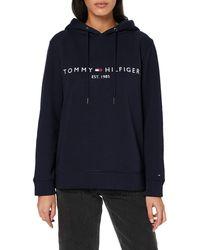 Tommy Hilfiger Th Ess Hilfiger Hoodie Ls Sweat-Shirt - Bleu