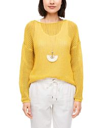 S.oliver - Pullover mit Ajourmuster Yellow 44 - Lyst