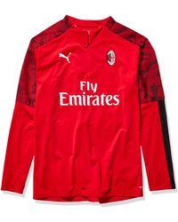 PUMA A.C. Milan ACM 1/4 Zip Top with Sponsor Logo Hemd - Rot
