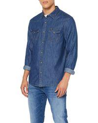 Wrangler Denim Western Shi Camicia in Jeans - Blu