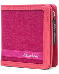 Skechers Rfid Blocking Small Wallet With Coin Pocket Travel Accessory-bi-fold - Pink