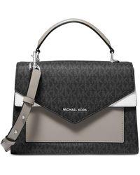 Michael Kors Michael Ludlow Signature Leather Satchel Bag - Black