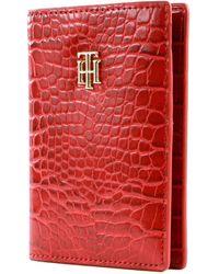 Tommy Hilfiger TH Passport Holder Red Croc - Rouge