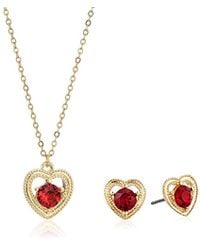 Napier - S Gold-tone Swarovski Heart Necklace Earring Jewelry Set, Red - Lyst