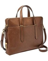 Fossil Bridgitte Leather Laptop Bag - Brown