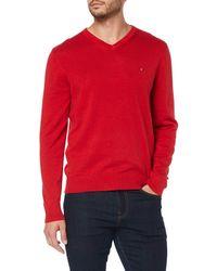 Tommy Hilfiger Organic Cotton Silk V Neck Sweatshirt, - Red