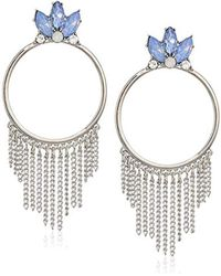 Guess - S Stone Doorknocker Style With Chain Fringe Earrings - Lyst