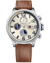 Tommy Hilfiger Reloj para hombre 1791239, mecanismo de cuarzo, diseño con varias esferas, correa de piel. - Neutro