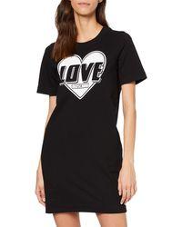 Love Moschino Short Sleeve Stretch Fleece Heart & Turbo Logo Print Dress - Black
