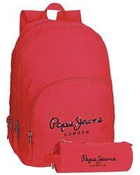 Pepe Jeans Harlow School Backpack, 42 Cm, 19.44 Liters - Red