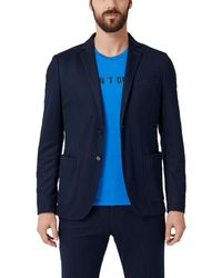 s.Oliver BLACK LABEL Slim: Jogg Suit-Anzugsakko Blue pin Stripe 102 - Blau