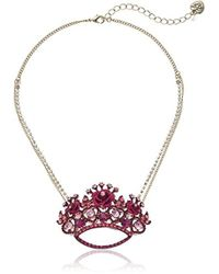 Betsey Johnson - S Pink And Gold Crown Pendant Necklace - Lyst