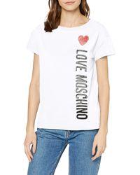 Love Moschino Regular Fit Short Sleeve T-Shirt/_Iridescent Foil Heart /& Logo Print Donna