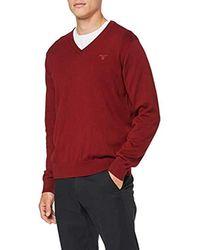 GANT Light Weight Cotton V-Neck Pullover - Rot