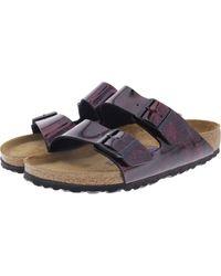 Birkenstock Arizona Birko Flor Soft Footbed Sandals 37 EU iRide Strong Red - Rot